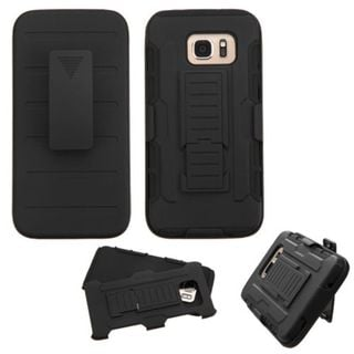 Insten Black Hard PC/ Silicone Dual Layer Hybrid Case Cover with Stand/ Holster For Samsung Galaxy S7 Edge