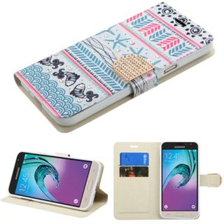 Insten Pink/ Blue Jumping Fishes Leather Case Cover with Stand/ Wallet Flap Pouch/ Diamond For Samsung Galaxy J3
