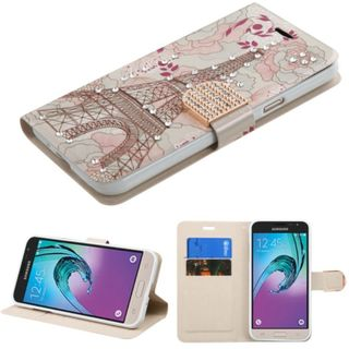 Insten Pink/ White Eiffel Tower Leather Case Cover with Stand/ Wallet Flap Pouch/ Diamond For Samsung Galaxy J3