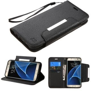Insten Black Leather Case Cover Lanyard with Stand/ Wallet Flap Pouch For Samsung Galaxy S7 Edge