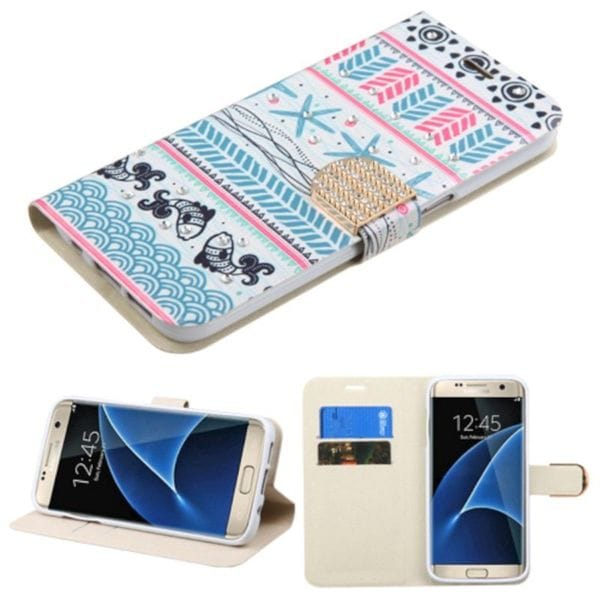 Insten Pink/ Blue Jumping Fishes Leather Case Cover with Stand/ Wallet Flap Pouch/ Diamond For Samsung Galaxy S7 Edge