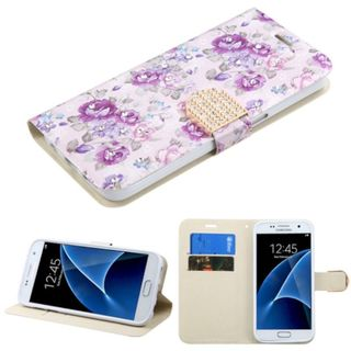 Insten Purple/ White Flowers Leather Case Cover with Stand/ Wallet Flap Pouch/ Diamond For Samsung Galaxy S7