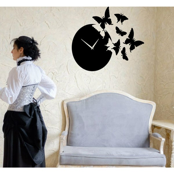 Clock time butterflies Wall Art Sticker Decal