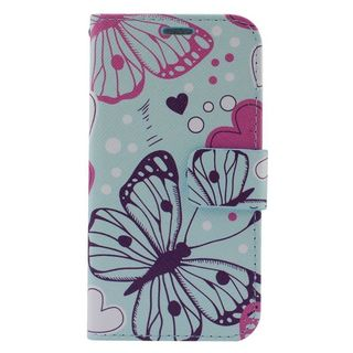 Insten Colorful Butterfly Leather Case Cover with Stand/ Wallet Flap Pouch/ Photo Display For Samsung Galaxy S6 Edge