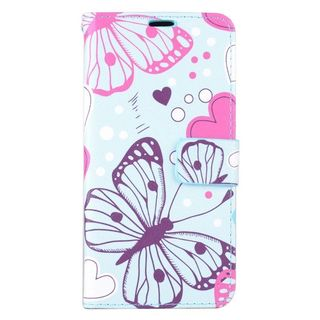 Insten Colorful Butterfly Leather Case Cover with Stand/ Wallet Flap Pouch/ Photo Display For Samsung Galaxy S6 Edge Plus