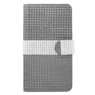 Insten Black/ Silver Leather Diamond Bling Case Cover with Wallet Flap Pouch For Samsung Galaxy Note 4