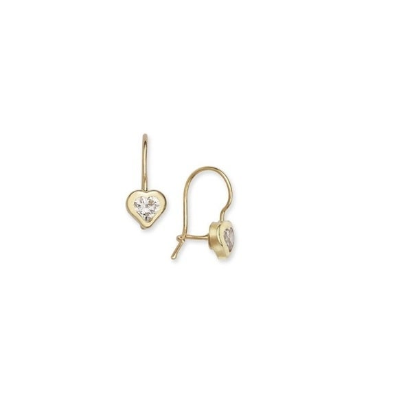 14k Yellow Gold French Back Heart Earrings