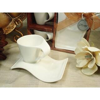 D'Lusso Designs White Porcelain 4-piece Deluxe Biscotti Saucer Espresso Set