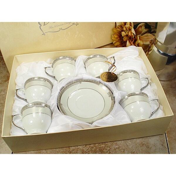 D'Lusso Designs White Porcelain 12-Piece Espresso Set 18826863