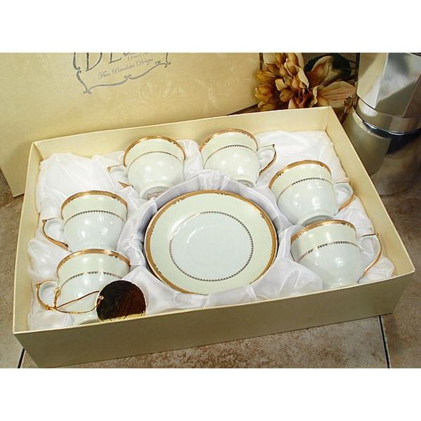 D'Lusso Designs Gold Deco Design White Porcelain 12-piece Espresso Set 18827414
