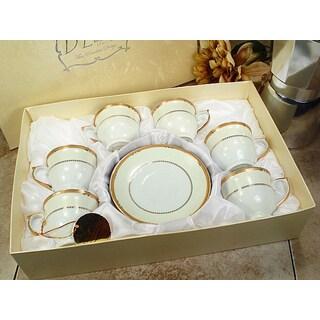 D'Lusso Designs Gold Deco Design White Porcelain 12-piece Espresso Set