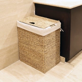 Seville Classics Brown Canvas/Braided Water Hyacinth/Metal Foldable Hamper
