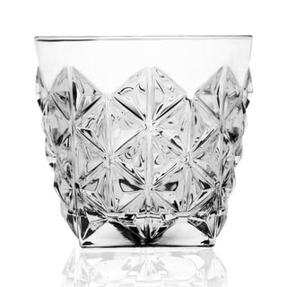 Lorren Home Trends Enigma Collection Clear Crystal Double Old Fashion Tumblers (Pack of 6)