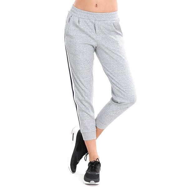 Nikibiki Women's Grey Cotton/Spandex Activewear Side Striped Jogger Capris 18827700