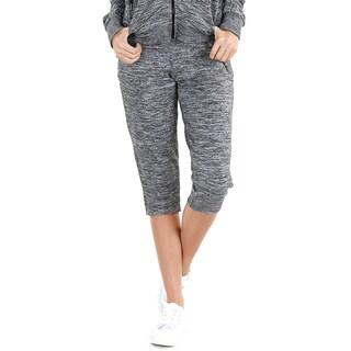 Nikibiki Women's Grey Polyester/Rayon/Spandex Activewear Melange Foldover Capris