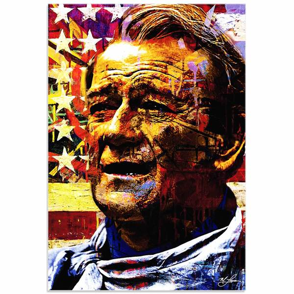 Mark Lewis 'John Wayne Faded Glory' Limited Edition Pop Art Print on Metal or Acrylic
