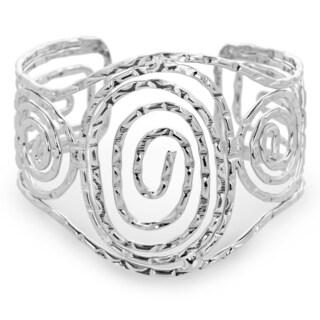 Adoriana Wide Swirl Silver Tone Notched 2-inch Wide Cuff Bracelet