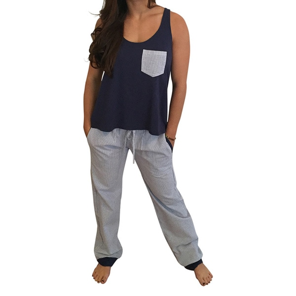 Seersucker Navy Pajama Pant Set