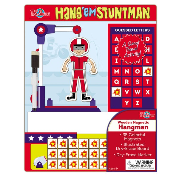 Hang Em Stuntman Wooden Magnetic Hangman Game