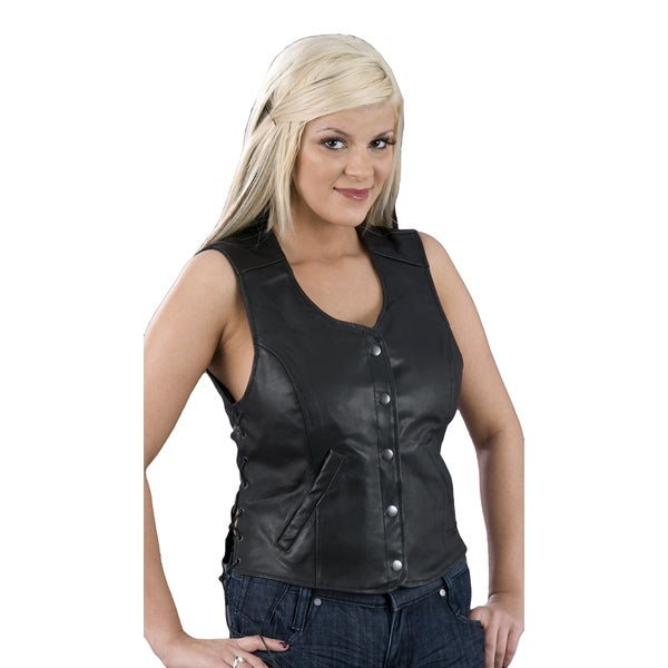 Women's Black Leather Snap-front Side-lace Vest