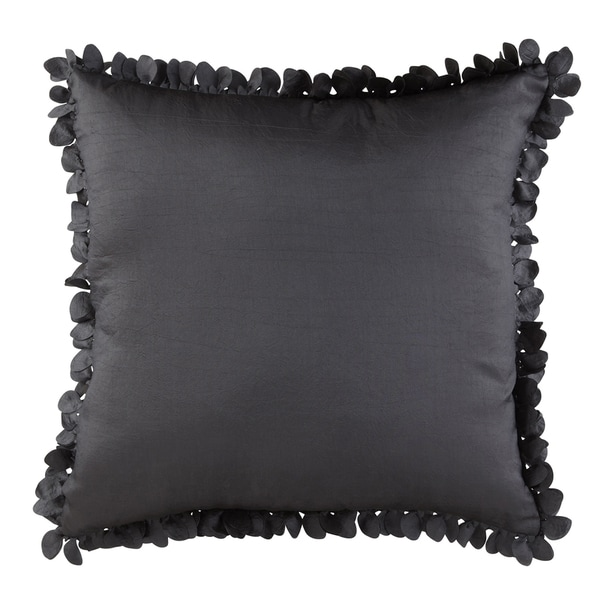 Black Polyester Petal-trim Decorative Pillow