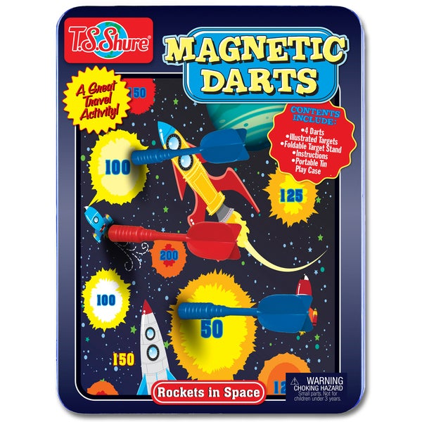 T.S. Shure Rockets in Space Magnetic Dart Game Tin