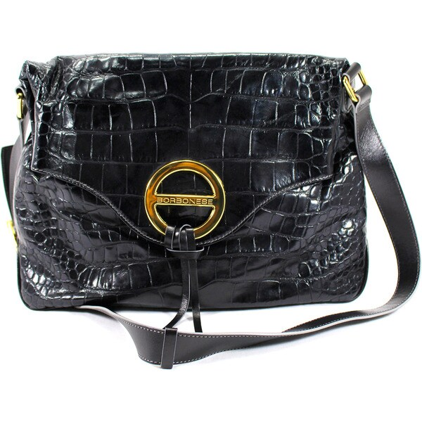 Borbonese Black Leather Women's Bag