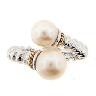 Meredith Leigh Sterling Silver and Pearl Twisted Bypass Ring
