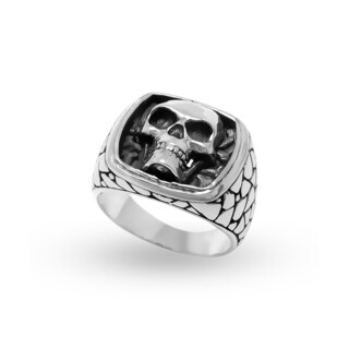 Handcrafted Sterling Silver Bali Men's Pebbled Skull Crest Ring (Indonesia)