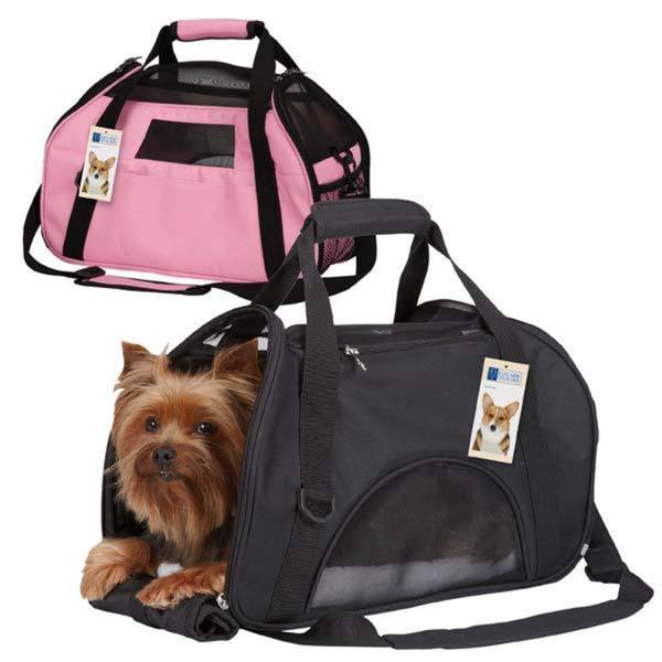 East Side Collection On-the-Go Black/Pink Polyester Pet Carrier