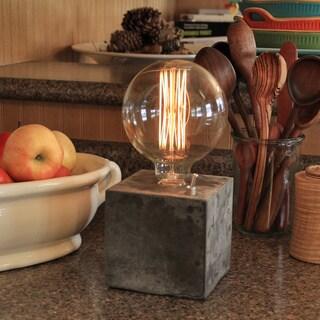 Edison Bulb Concrete Cube Desk Lamp