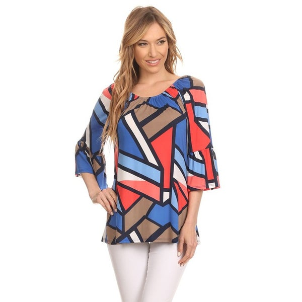 MOA Collection Women's Multicolor Abstract Geometric-print 3/4-Length Bell-sleeve Tunic Top