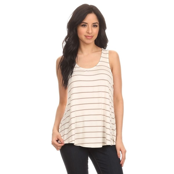 MOA Collection Women's Khaki Rayon and Spandex Sleeveless Striped Tank Top
