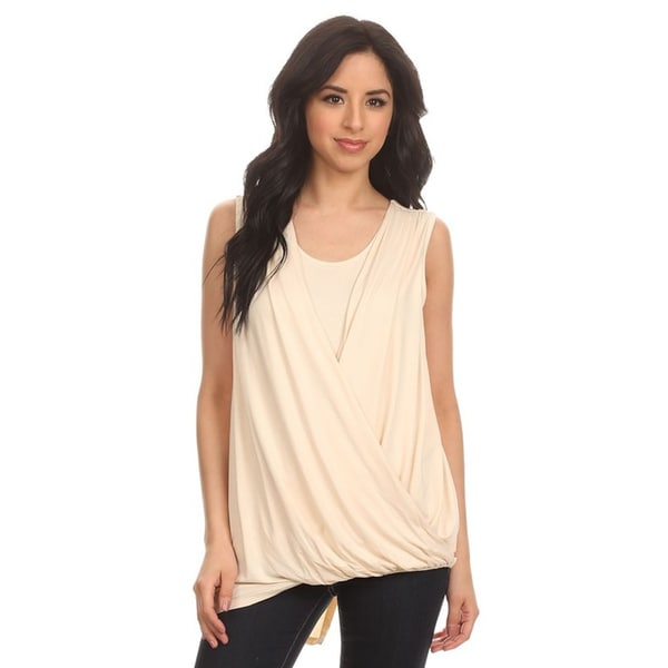 MOA Collection Women's Beige/Black Polyester/Spandex Draped Wrap Detail Top