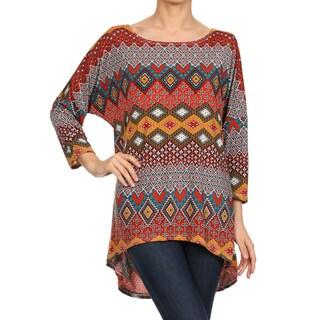 Women's Brown Bohemian-pattern Hi-low Long-sleeve Tunic Top