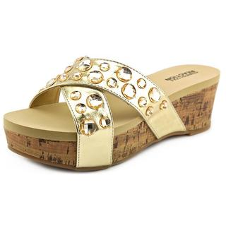 Kenneth Cole Reaction Women's 'Step Inside 2' Gold Synthetic Mid Heels Sandals