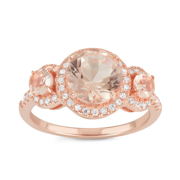 Gioelli Sterling Silver 3-stone Round Synthetic Morganite Engagement Ring