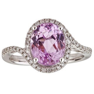 Anika and August 14k White Gold Oval-cut Kunzite and Diamond Ring