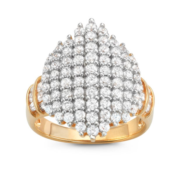 Gioelli Two-tone Silver Marquis Shape Pave Cubic Zirconia Ring