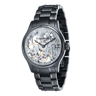 Thomas Earnshaw Men's Bauer Black-plated Mechanical Skeleton Timepiece