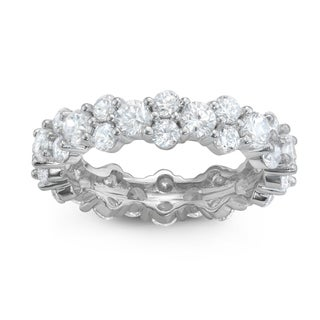Gioelli Sterling Silver Cubic Zirconia Eternity Band Ring