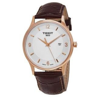 Tissot Men's T9144104601700 'T Gold' White Dial Brown Leather Strap Rose Gold Swiss Quartz Watch