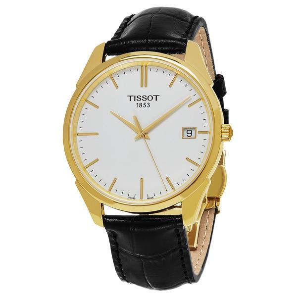 Tissot Men's T9204101601100 'T Gold' White Dial Black Leather Strap 18K Gold Swiss Quartz Watch