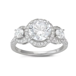 Gioelli Sterling Silver 3-stone Round Cubic Zirconia Engagement Ring