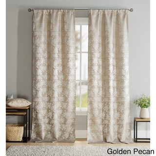 Brienna Gold, Grey or Red Polyester Pole Top Curtain Panel Pair