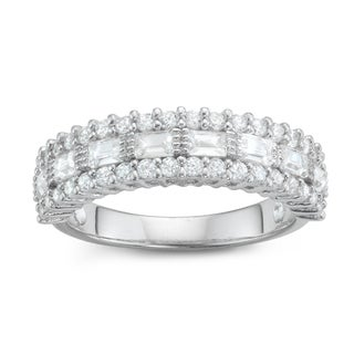 Gioelli Sterling Silver Emerald-cut and Round Milgrain Eternity Cubic Zirconia Band