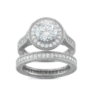 Gioelli Sterling Silver Round cut 2-Piece Bridal-style Cubic Zirconia Ring Set