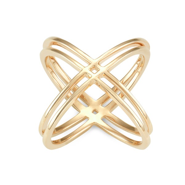 Gioelli Gold Plated Sterling Silver High Polish Double Cross Ring