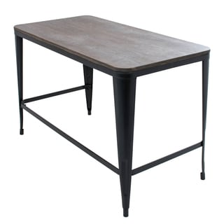 Pia Industrial Home Office Desk With Espresso Wood Top and Metal Frame