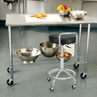 Seville Classics Black and Silver Steel Cushioned Pneumatic Work Stool